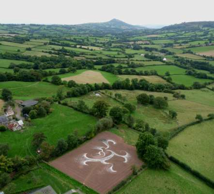 Aerial photo of drawing looking towards The Skirrid Mountain, 150ft x 110ft, indigenous sandstone